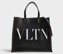 Shopper Rockstud VLTN aus schwarzem und weißem Kalbsleder
