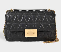 Sloan Large Chain Shoulder Bag In Black Pyramid Quilted Lambskin