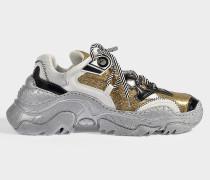Sneaker Oversize aus glattem Kalbsleder in Gold und Bunt