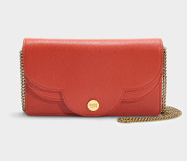 See by Chloé Wallet on Chain Pollina aus rotem Kalbsleder