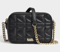 K/Kuilted Crossbody Tasche aus goldfarbenem und schwarzem Kalbsleder