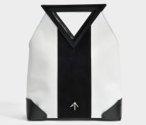 Triangle North Tote Tasche aus schwarzem und weißem Vegetable Tanned Kalbsleder und Wildleder