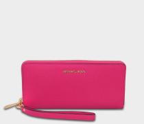 Jet Sand Travel Continental Geldbörse aus Ultra rosanem Saffiano Leder