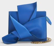Gürteltasche Bow aus blauem Kalbsleder