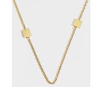 Halskette Block T Logo Rosary aus goldenem und silbernem Metall