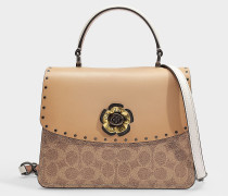Parker Top Handle Bag in Beige Signature Coated Canvas With Border Rivets