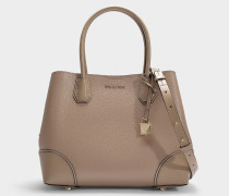 Shopper mit Zip Mercer Gallery Medium aus beigem, genarbtem Kalbsleder