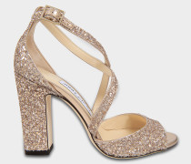 Carrie 100 Cross Front Sandalen aus Ballet rosanem Shadow Glitzerstoff