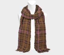 220X50 Calgary Check Stola aus rosanem Wolle und Leinen
