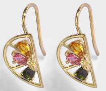 Ohrringe in 9K Gelbgold mit grünem, rosanem und citrinefarbenem TourmalineSchmucksteinen