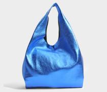 Shopping Tasche aus blauem Leder