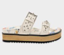 Sandalen mit Nieten und geblümter Sohle