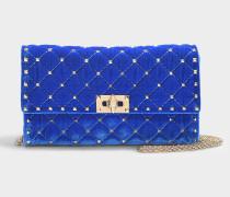 Clutch Velours Rockstud Spike aus blauer Baumwolle