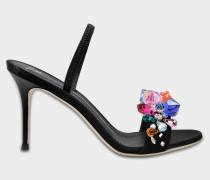 Schuhe mit Schmucksteine aus silbernem Leder