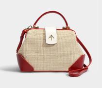 Handtasche Frame Combo Tweed aus Samt und pflanzlich gegerbtem beigem Kalbsleder, in Weiß und Rot