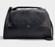 Große Handtasche mit Schulterriemen Oscar aus schwarzem Lammlederci in Marineblau