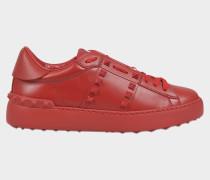 Rockstud Untitled Sneaker aus rotem Kalbsleder