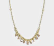 Valentino Crystals Lettering Choker Halskette aus Metall und rosanen Swarowskisteinen