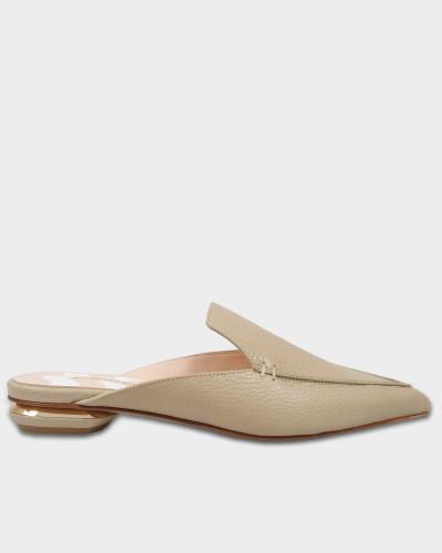 18Mm Beya Flat Mule Schuhe aus Stone grauem Kalbsleder