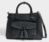 Medium Banner Tasche aus schwarzem Kalbsleder