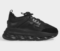 Sneaker Sports Oversized Chain aus schwarzem Stoff