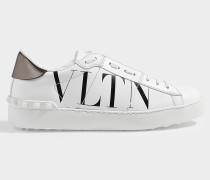 VLTN Open Sneakers in White and Black Calfskin