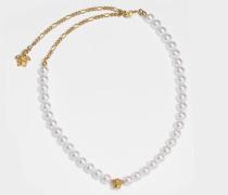 Perlenhalskette aus weißem und goldenem Metall