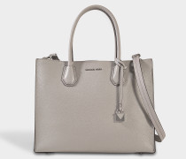 Mercer Large Convertible Tote Bag aus Pearl grauem Pebbled Leder