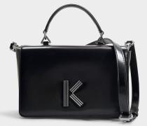 Große Handtasche mit Schulterriemen Klasp aus schwarzem Kalbsleder