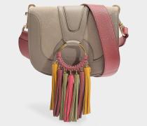 See by Chloé Kleine Tasche Hana Crossbody mit Pompons aus grauem, genarbtem Leder