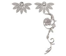 Asymetrische Half-Daisy Drop Ohrringe aus Schmucksteinen und Metall