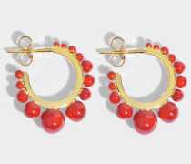 Ana small Ohrringe aus coralfarbenem Color Perlen und 18K vergoldetem Messing