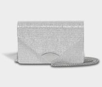 Barbara Medium Envelope Clutch Bag in Silver PVC
