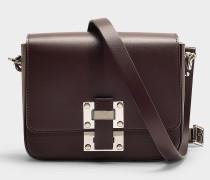 Kleine Handtasche The Quick aus Bordeauxrotem Kalbsleder