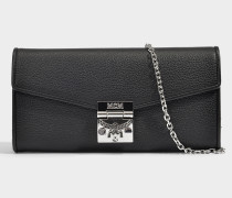 Large Geldbörse mit Center Zip und Chain aus schwarzem Park Avenue Leder