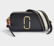 Handtasche Snapshot aus Leder mit schwarzer und roter Polyurethanbeschichtung