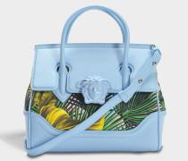 Palazzo Empire Small Bag aus mehrfarbigem Baby blauem Kalbsleder und Drill Baumwolle
