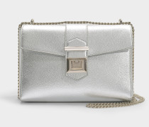 Marianne Shoulder Bag in Silver Metallic Grainy Calf Leather