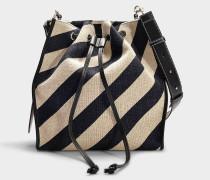 Handtasche Drawstring aus schwarzem und weiß gebrochenem Leinen