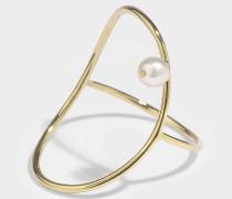 Oval Perlee Ring aus 14K Gelbgoldfarbenem