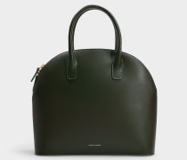 Handtasche Top Handle Rounded aus grünem Kalbsleder