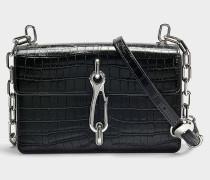 Handtasche Hook Medium Crossbody mit Kalbsleder und Krokoprägung in Schwarz