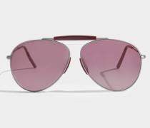 Howard Sonnenbrille in Vintage silber und rotem Metall