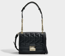 K/Kuilted Mini Handtasche aus goldfarbenem und schwarzem Kalbsleder