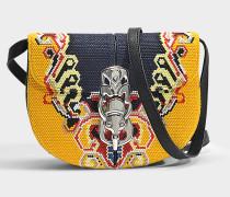 LaPin Embroide Red Bag aus gelbem und schwarzem Canvas und Kalbsleder
