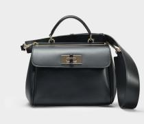 Borsa Medium Hand und Crossbody Tasche aus schwarzem Kalbsleder