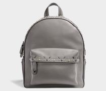 CamPUs Backpack mit Nieten aus grauem Kalbsleder