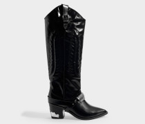 Stiefel Western in schwarzem Leder
