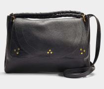 Handtasche mit Schulterriemen Oscar Medium aus schwarzem Kalbsleder