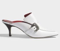 Mules Cabriolet aus glattem, weißem Kalbsleder